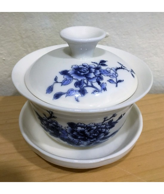 Porcelain - Blue Peony on White Base Gaiwan