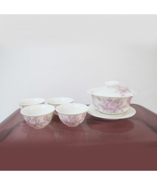 Porcelain - Poeny on White Ground, Gaiwan with 4 Cups