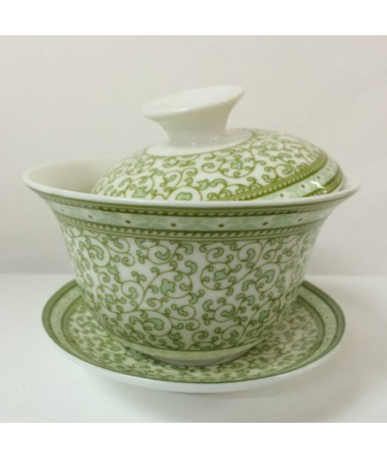 Porcelain - Light Green Flower Gaiwan