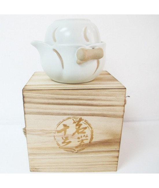 Porcelain - Crescent Moon Imprint on White Porcelain Tea Making Set (MQSZ016)