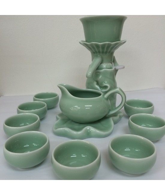 Porcelain - Green Pea porcelain (Lily Pond Nite Scene), Tea Making Dispenser, 8 Cups
