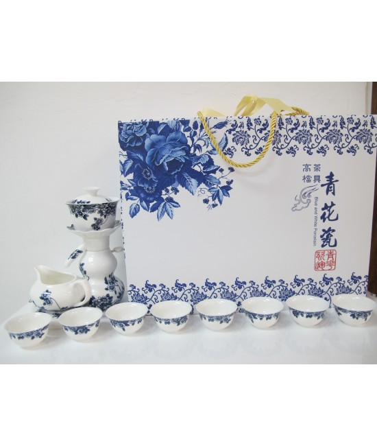 Porcelain - Blue Flowers on White Ground, Tea Making Dispenser, 8 Cups