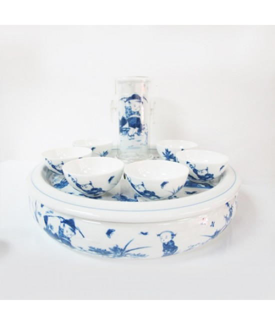 Porcelain - Blue Child Play on White Background, Tea Dispenser with 6 Cups on a Tray/Bowl