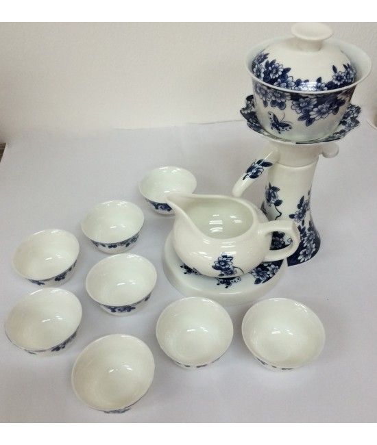 Porcelain - Blue Flowers on White Ground, Slim Waist Tea Making Dispenser, 8 Cups + Gift box