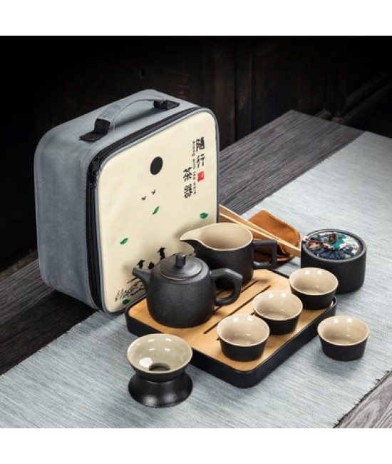 Black Porcelain Travelling Set - C