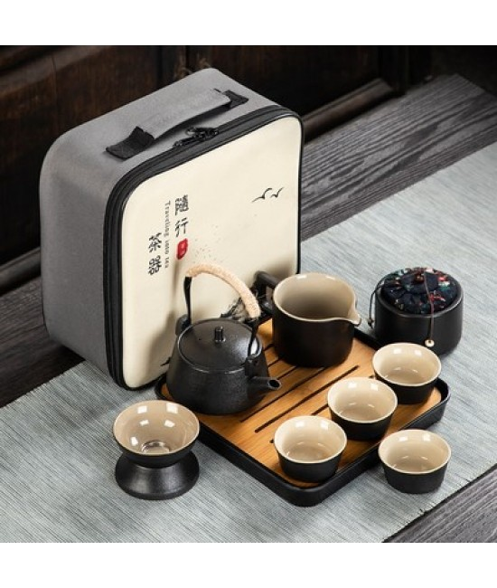 Black Porcelain Travelling Set - A