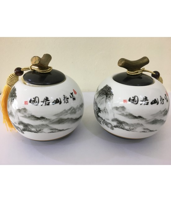 Porcelain - Tea Caddy (Scenery)