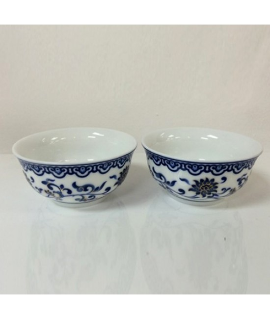 Porcelain - Blue Lotus on white base Cup