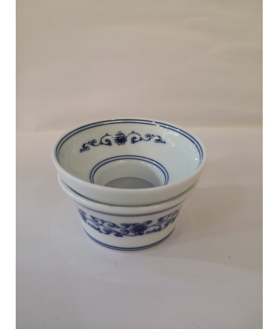 Porcelain Tea Strainer - Blue Flower on White