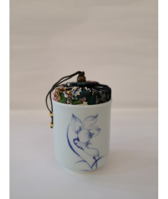 Porcelain Hand Print Tea Caddy - Lotus