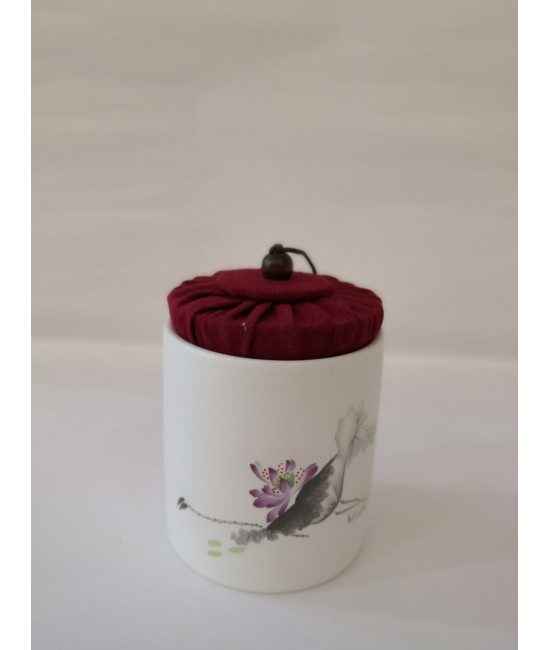 Porcelain Hand Printed Tea Caddy - Prawn