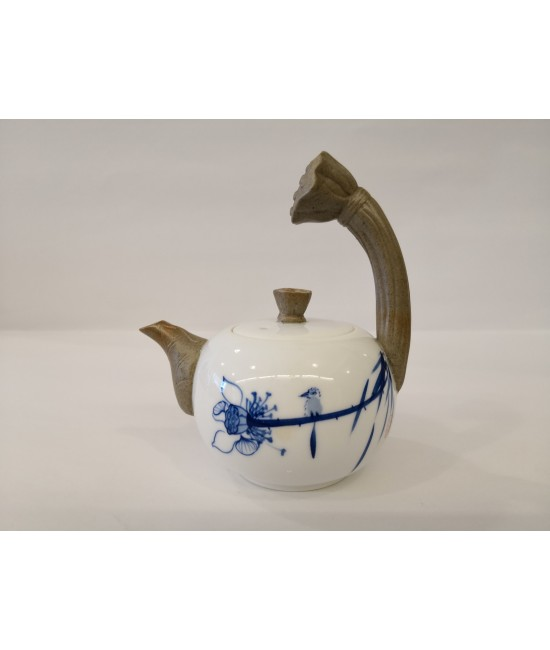 Hand drawn Teapot - Lotus Handle