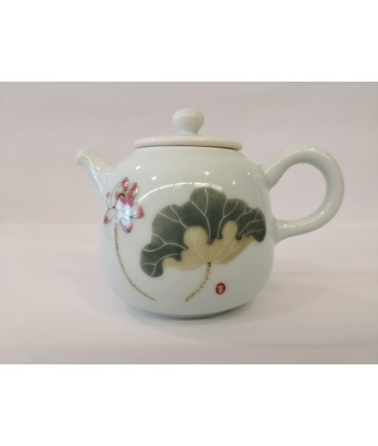 Hand drawn Teapot - Lotus Leaf